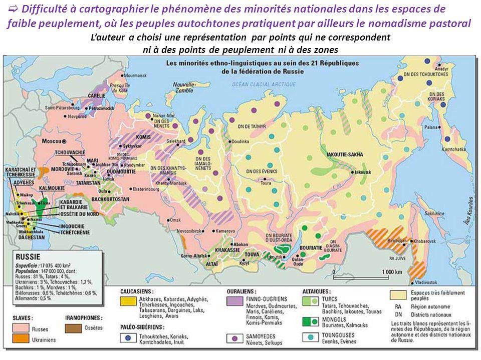 Difficulté à cartographier le phénomène des minorités nationales dans les espaces de faible peuplement, où les peuples autochtones pratiquent par ailleurs le nomadisme pastoral