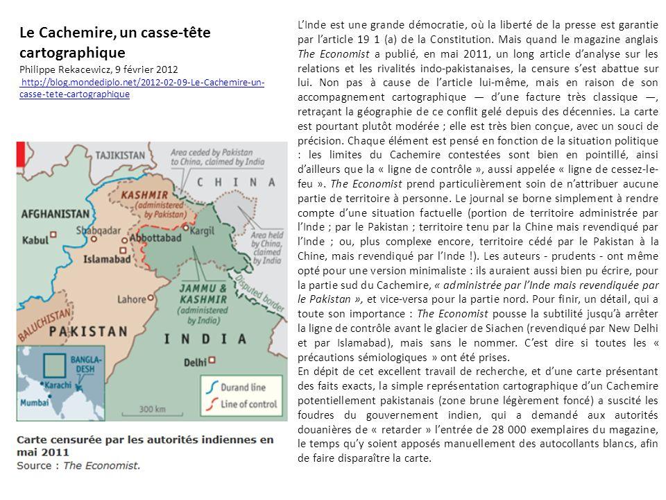 Le Cachemire, un casse-tête cartographique