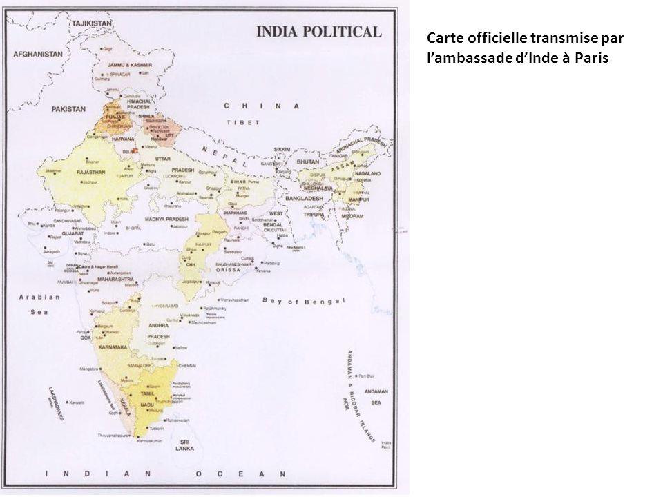Carte officielle transmise par l'ambassade d'Inde à Paris