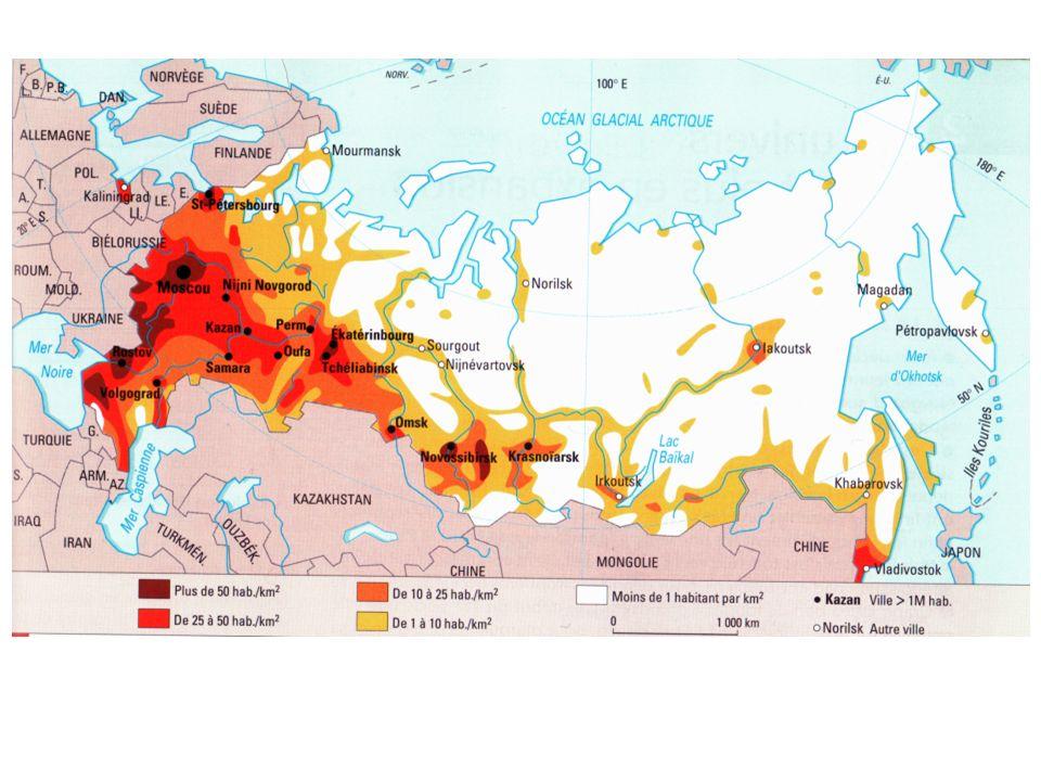 -> carte densité et villes = densité plus forte en violet or environ 50 habitants/km² => du fait de la faible densité ; du fait de la discrétisations // polarisation accélérée en Russie donc aux échelles régionales, de forts contrastes de densités (campagnes désertifiées autour de Moscou avec écarts d 1 à 142 dans les zones les plu peuplés) ne sont pas visibles