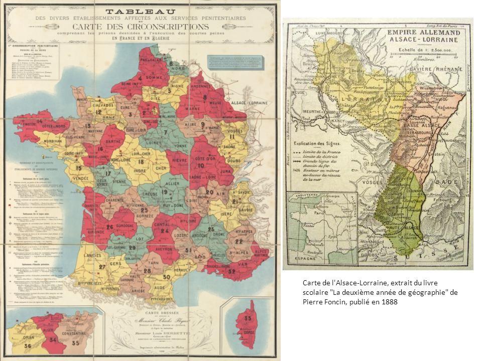 Carte de l Alsace-Lorraine, extrait du livre scolaire La deuxième année de géographie de Pierre Foncin, publié en 1888