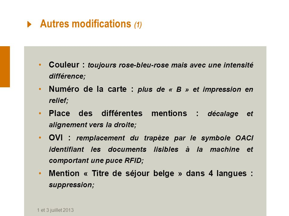 Autres modifications (1)