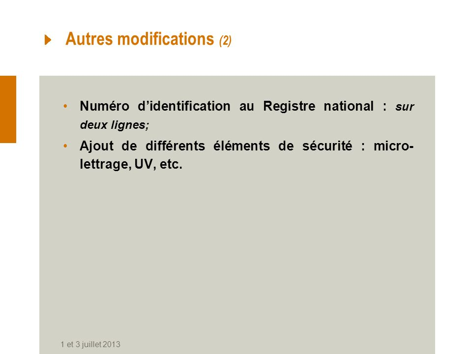 Autres modifications (2)
