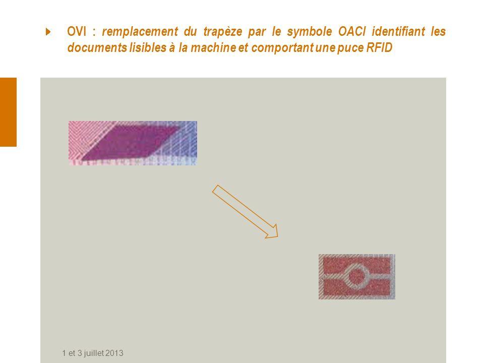 OVI : remplacement du trapèze par le symbole OACI identifiant les documents lisibles à la machine et comportant une puce RFID