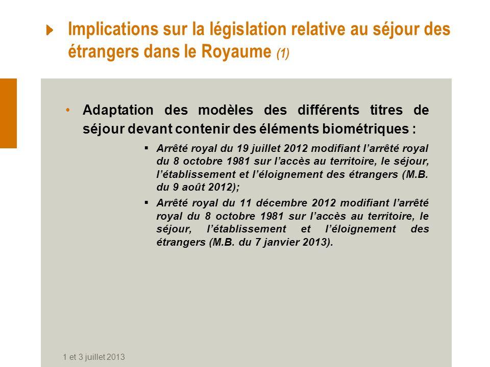 Implications sur la législation relative au séjour des étrangers dans le Royaume (1)