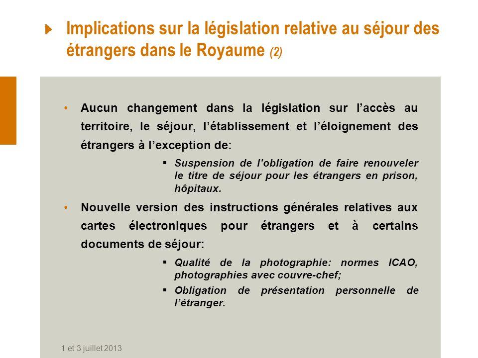 Implications sur la législation relative au séjour des étrangers dans le Royaume (2)
