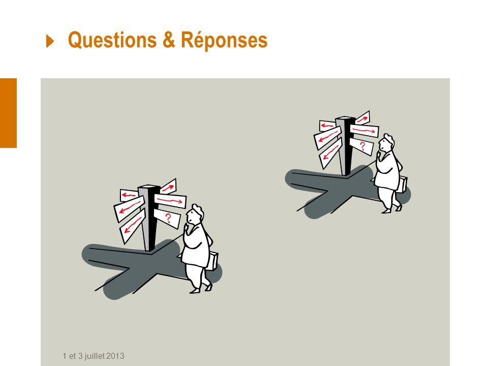 Questions & Réponses 1 et 3 juillet 2013