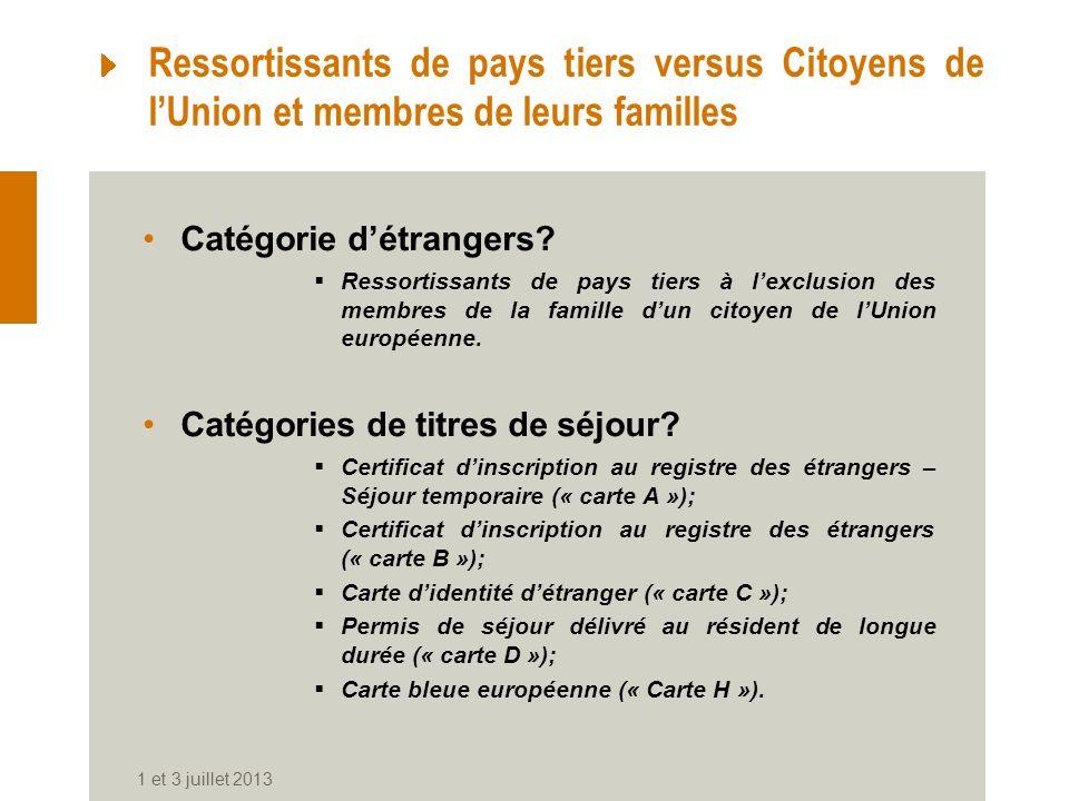 Ressortissants de pays tiers versus Citoyens de l'Union et membres de leurs familles