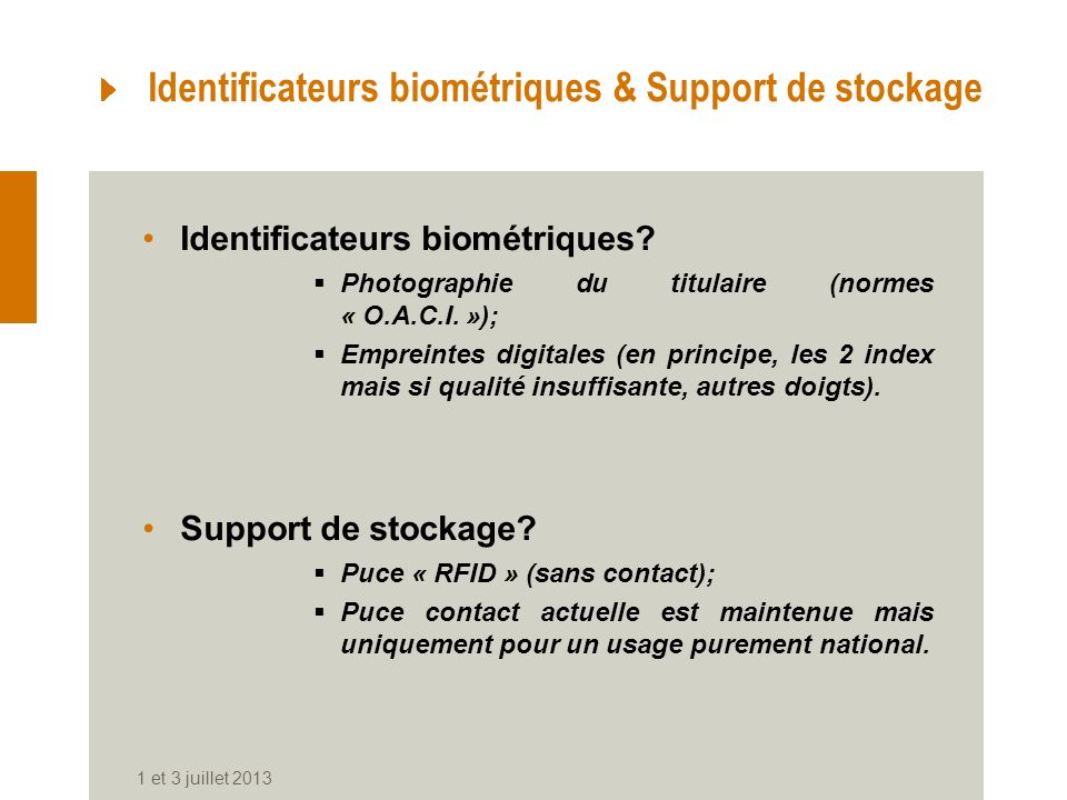 Identificateurs biométriques & Support de stockage