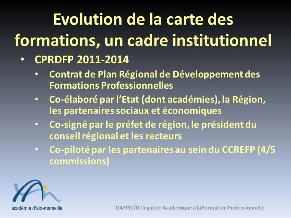 Evolution de la carte des formations, un cadre institutionnel
