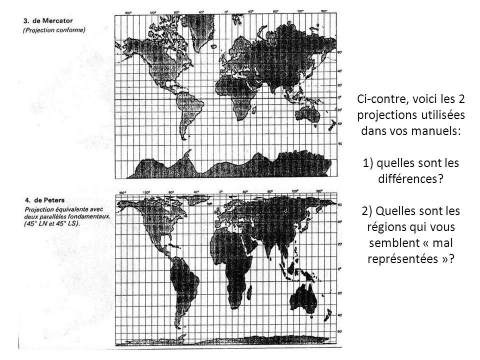 Ci-contre, voici les 2 projections utilisées dans vos manuels: 1) quelles sont les différences.