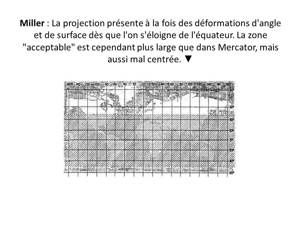 Miller : La projection présente à la fois des déformations d angle et de surface dès que l on s éloigne de l équateur.