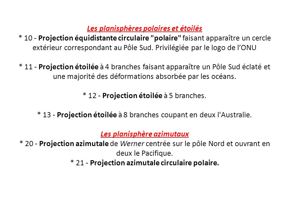 Les planisphères polaires et étoilés