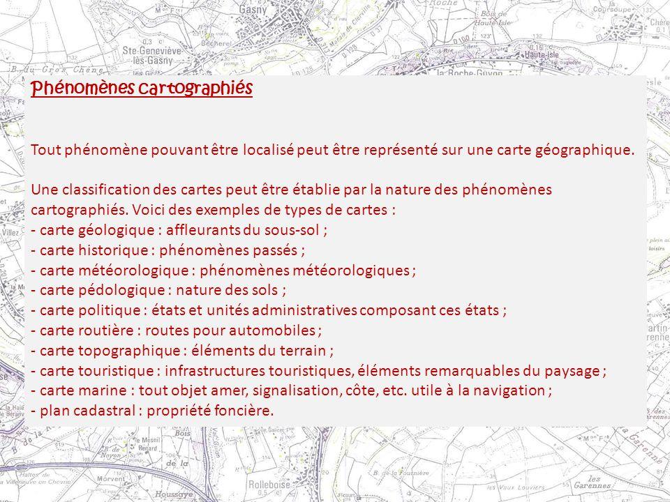 Phénomènes cartographiés
