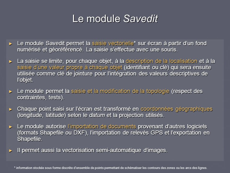 Le module Savedit