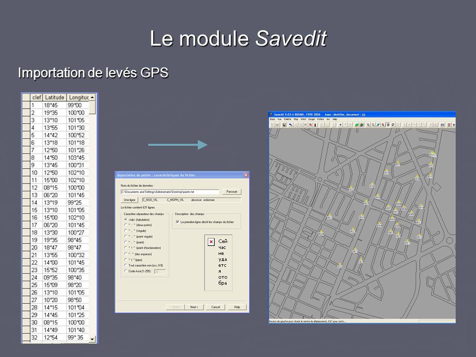 Le module Savedit Importation de levés GPS