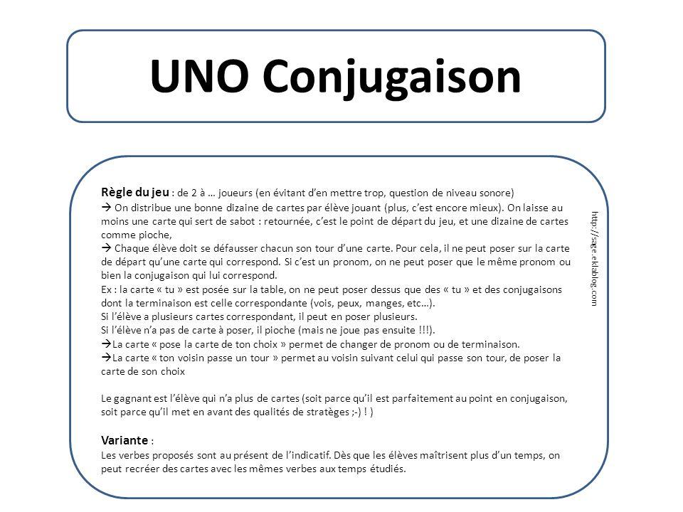UNO Conjugaison Règle du jeu : de 2 à … joueurs (en évitant d'en mettre trop, question de niveau sonore)