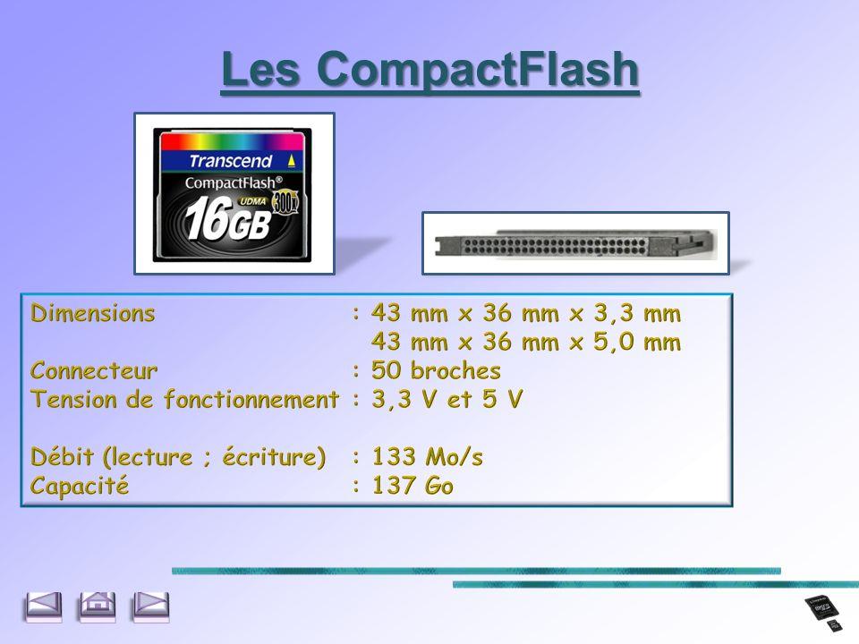 Les CompactFlash Dimensions : 43 mm x 36 mm x 3,3 mm