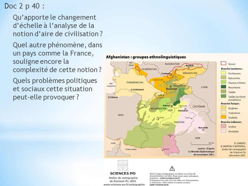 Doc 2 p 40 : Qu'apporte le changement d'échelle à l'analyse de la notion d'aire de civilisation