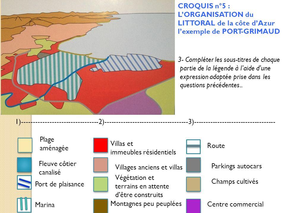 CROQUIS n°5 : L'ORGANISATION du LITTORAL de la côte d'Azur l'exemple de PORT-GRIMAUD