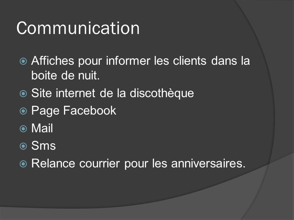 Communication Affiches pour informer les clients dans la boite de nuit. Site internet de la discothèque.