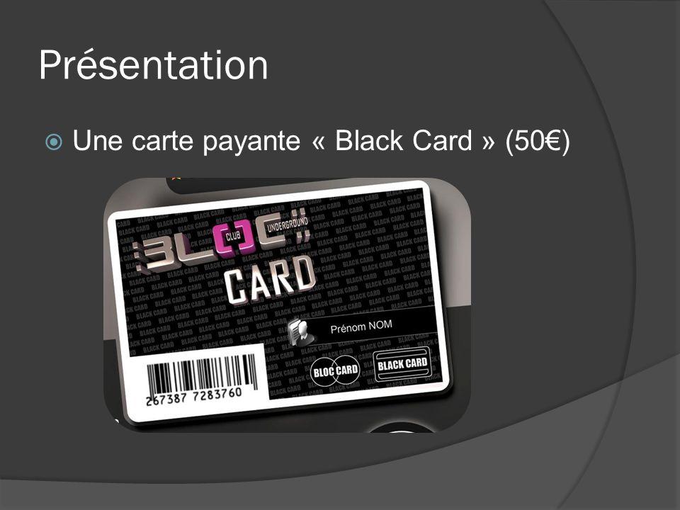 Présentation Une carte payante « Black Card » (50€)
