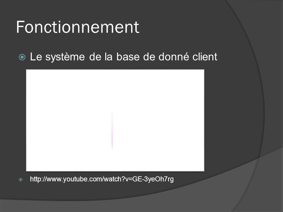 Fonctionnement Le système de la base de donné client