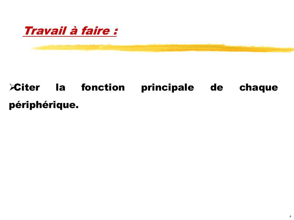 Travail à faire : Citer la fonction principale de chaque périphérique.