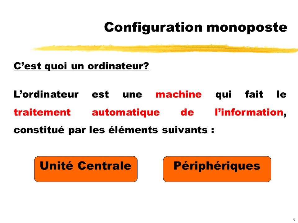Configuration monoposte