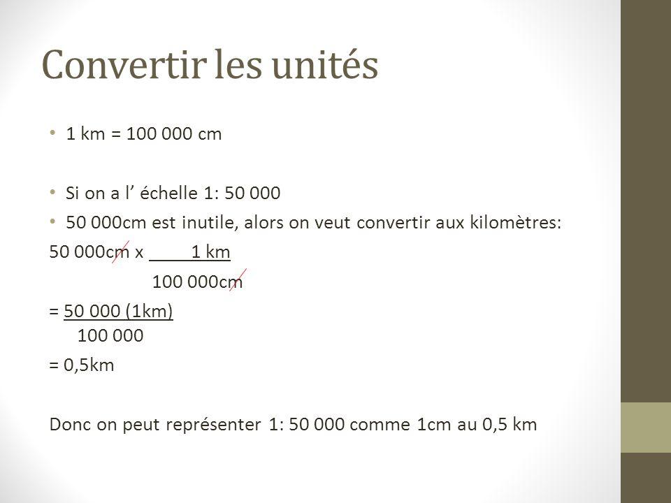 Convertir les unités 1 km = 100 000 cm Si on a l' échelle 1: 50 000
