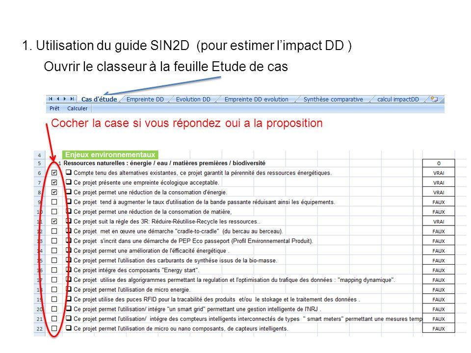 1. Utilisation du guide SIN2D (pour estimer l'impact DD )