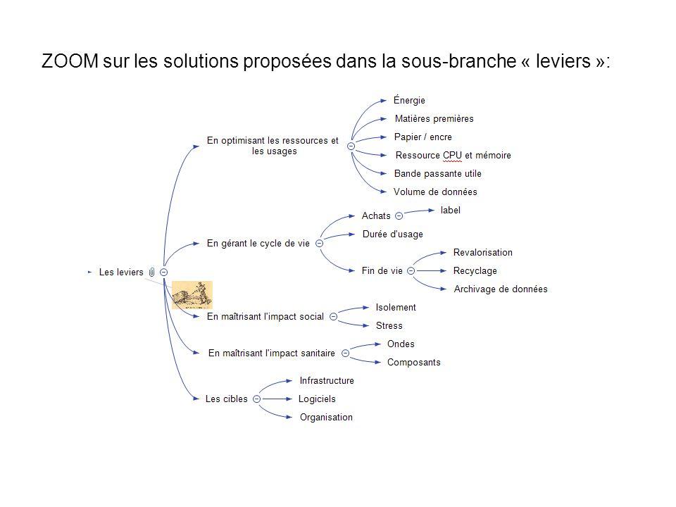 ZOOM sur les solutions proposées dans la sous-branche « leviers »: