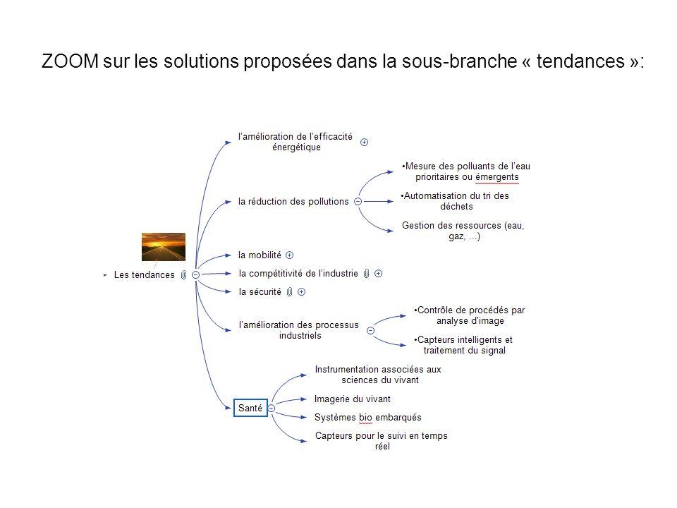 ZOOM sur les solutions proposées dans la sous-branche « tendances »: