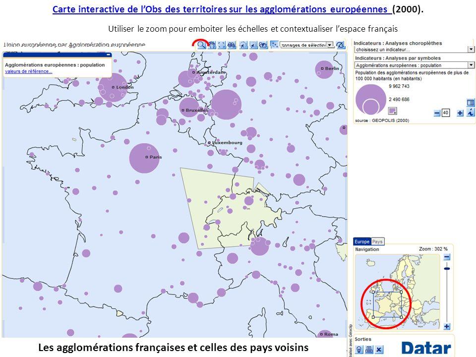 Les agglomérations françaises et celles des pays voisins