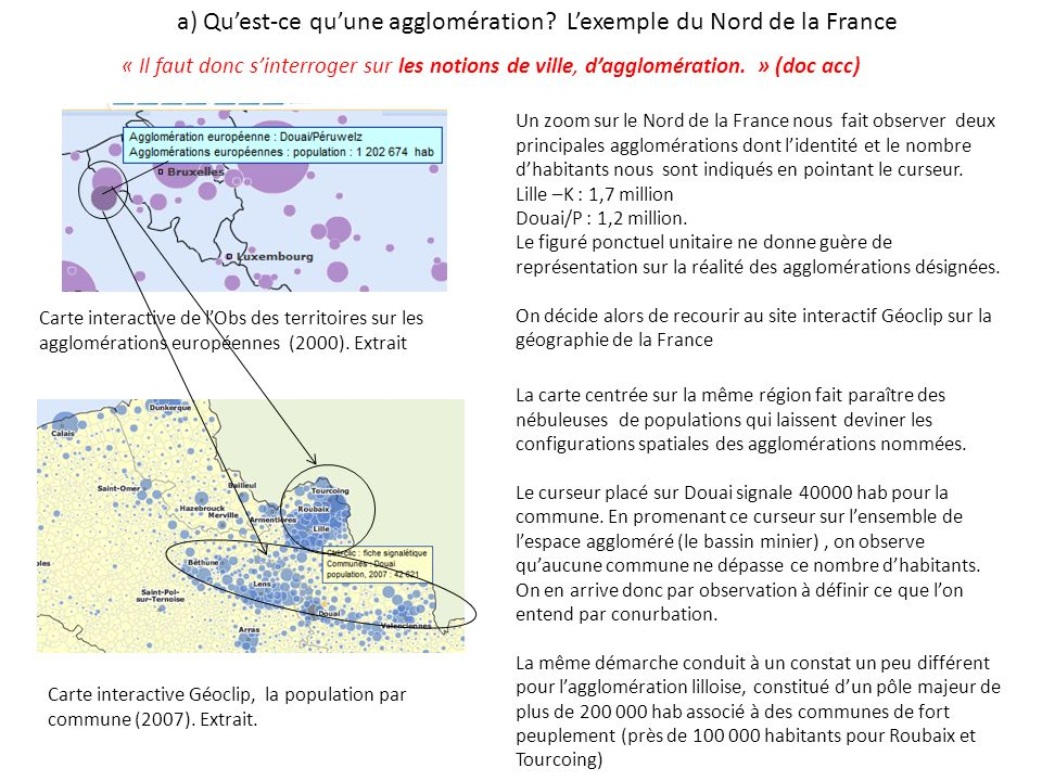 a) Qu'est-ce qu'une agglomération L'exemple du Nord de la France
