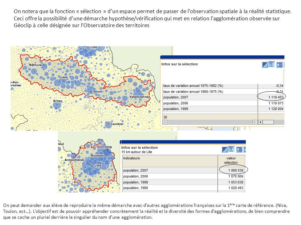 On notera que la fonction « sélection » d'un espace permet de passer de l'observation spatiale à la réalité statistique.