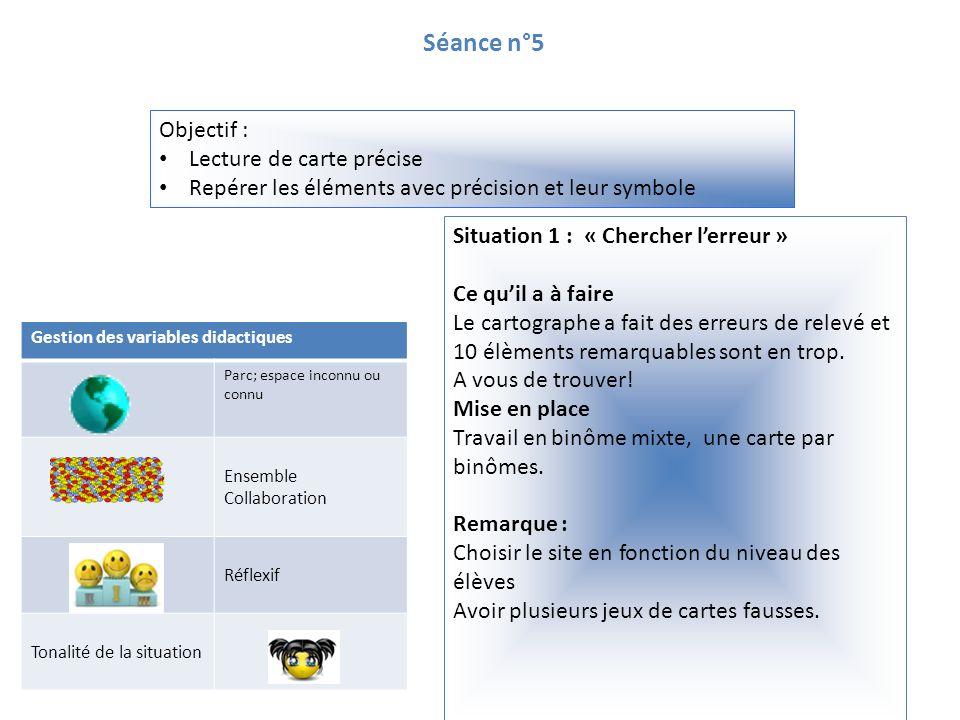 Séance n°5 Objectif : Lecture de carte précise