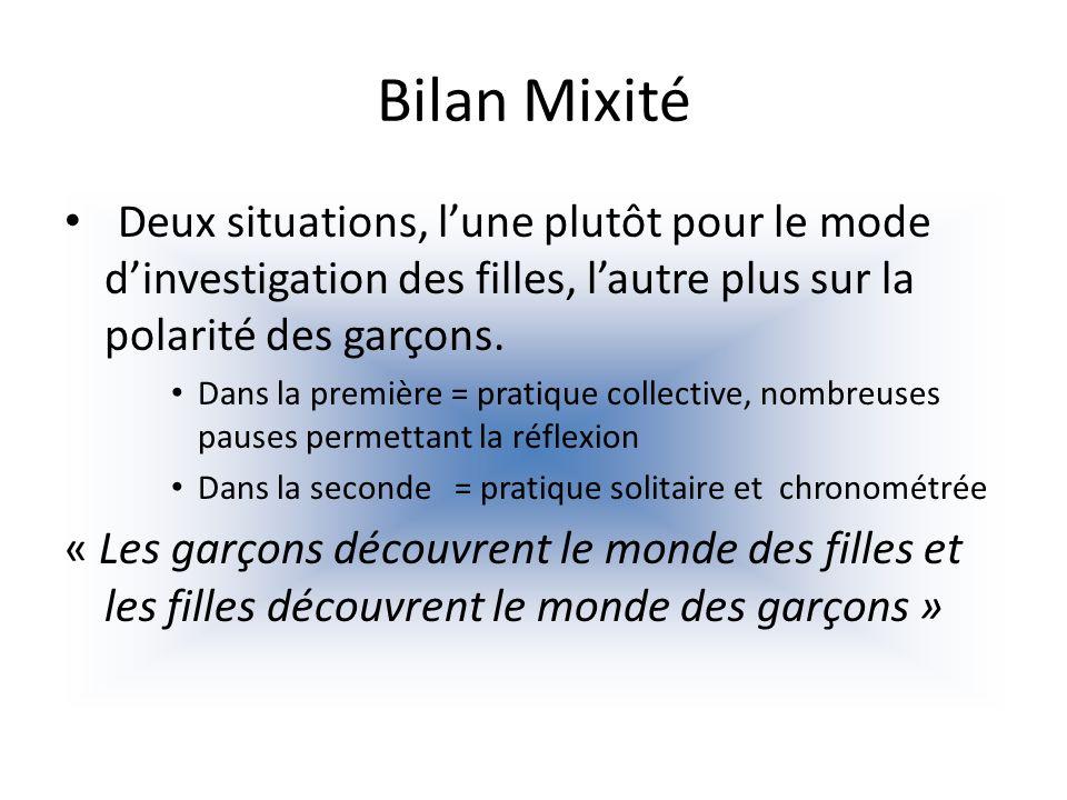 Bilan Mixité Deux situations, l'une plutôt pour le mode d'investigation des filles, l'autre plus sur la polarité des garçons.