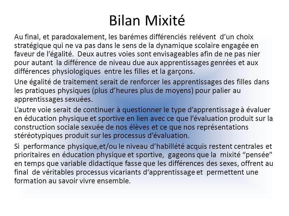 Bilan Mixité