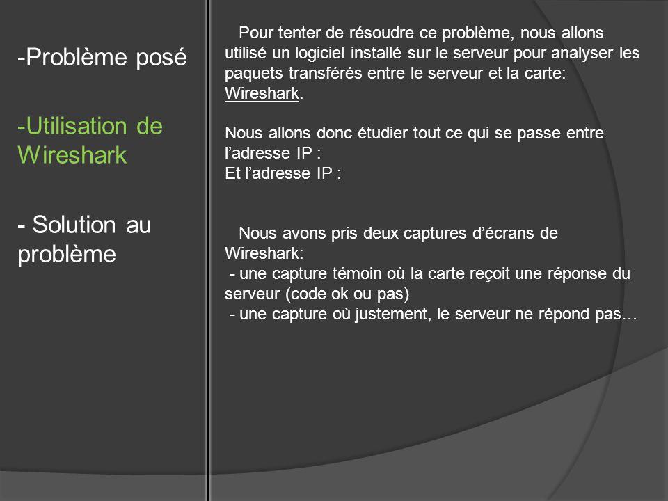 -Problème posé -Utilisation de Wireshark - Solution au problème