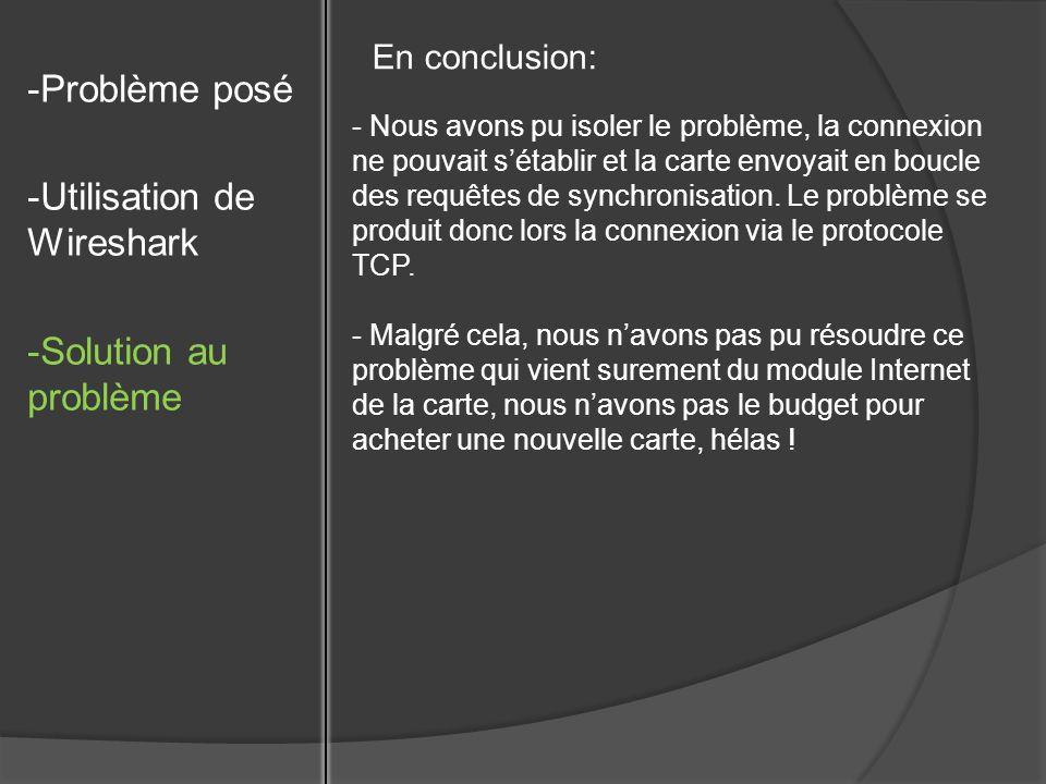 -Problème posé -Utilisation de Wireshark -Solution au problème