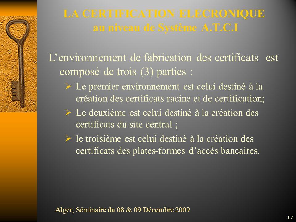 LA CERTIFICATION ELECRONIQUE au niveau de Système A.T.C.I