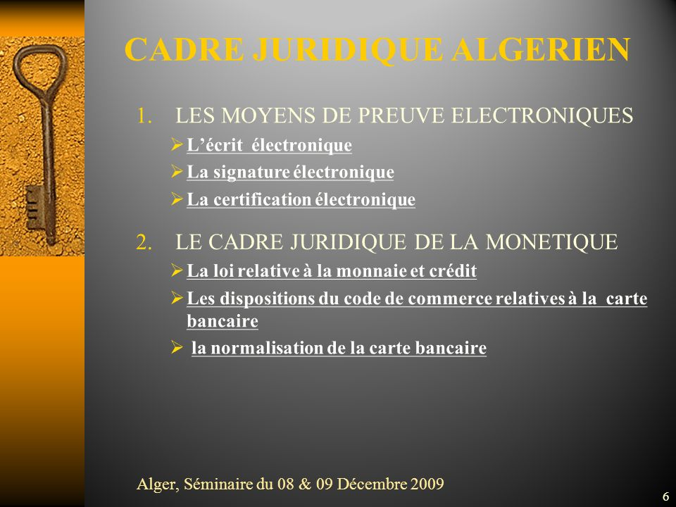 CADRE JURIDIQUE ALGERIEN