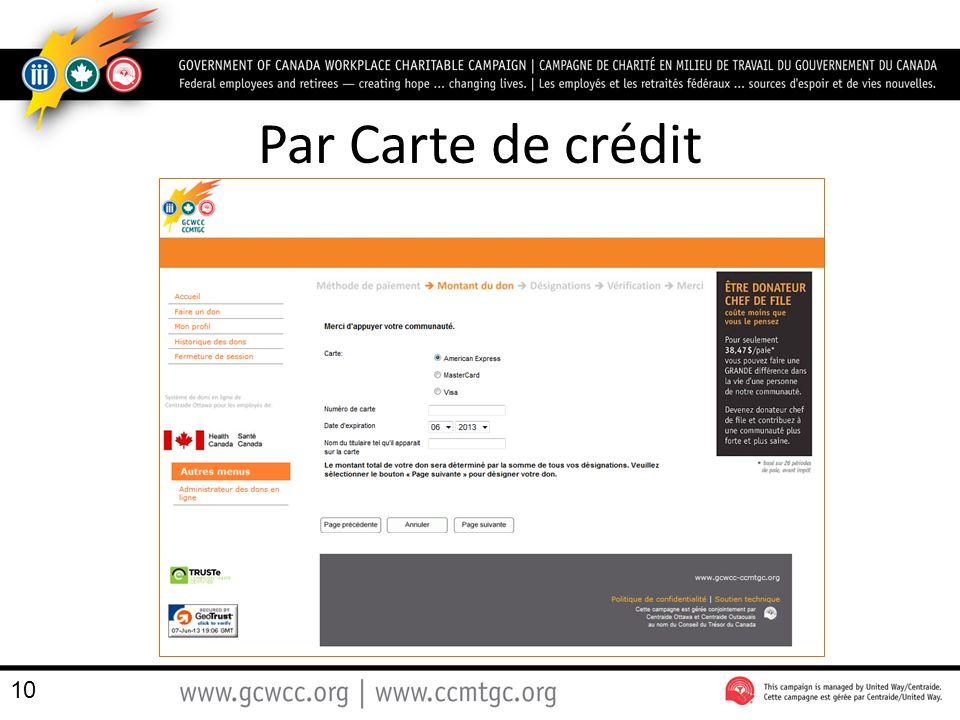 Par Carte de crédit
