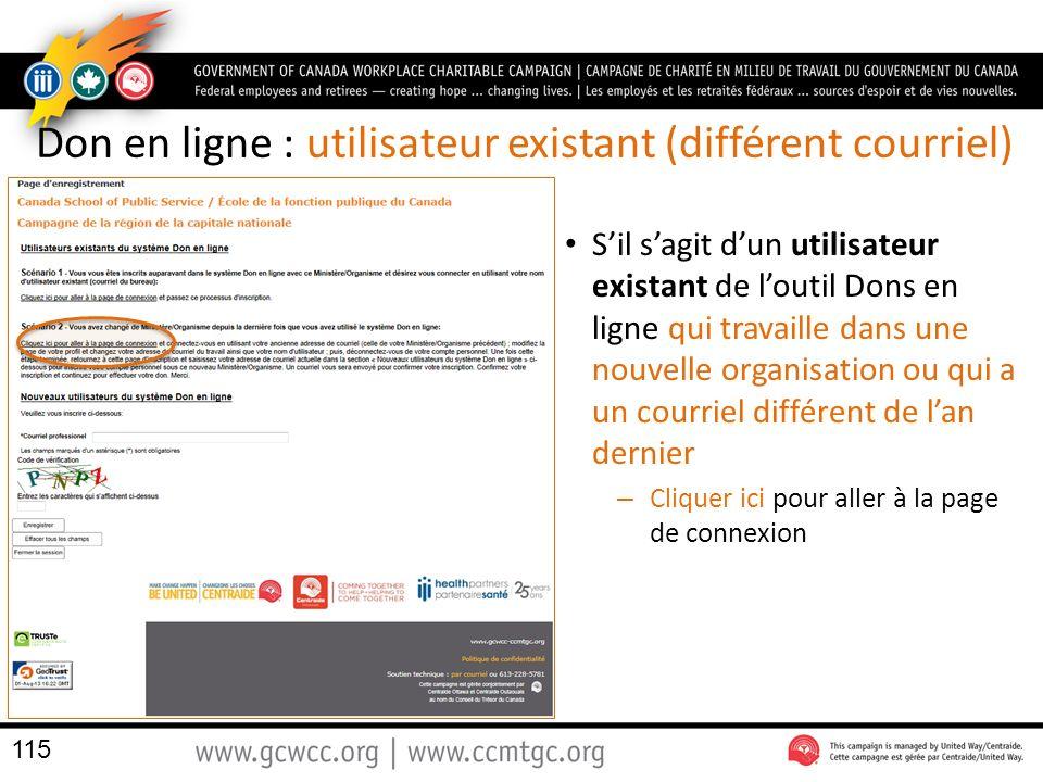 Don en ligne : utilisateur existant (différent courriel)