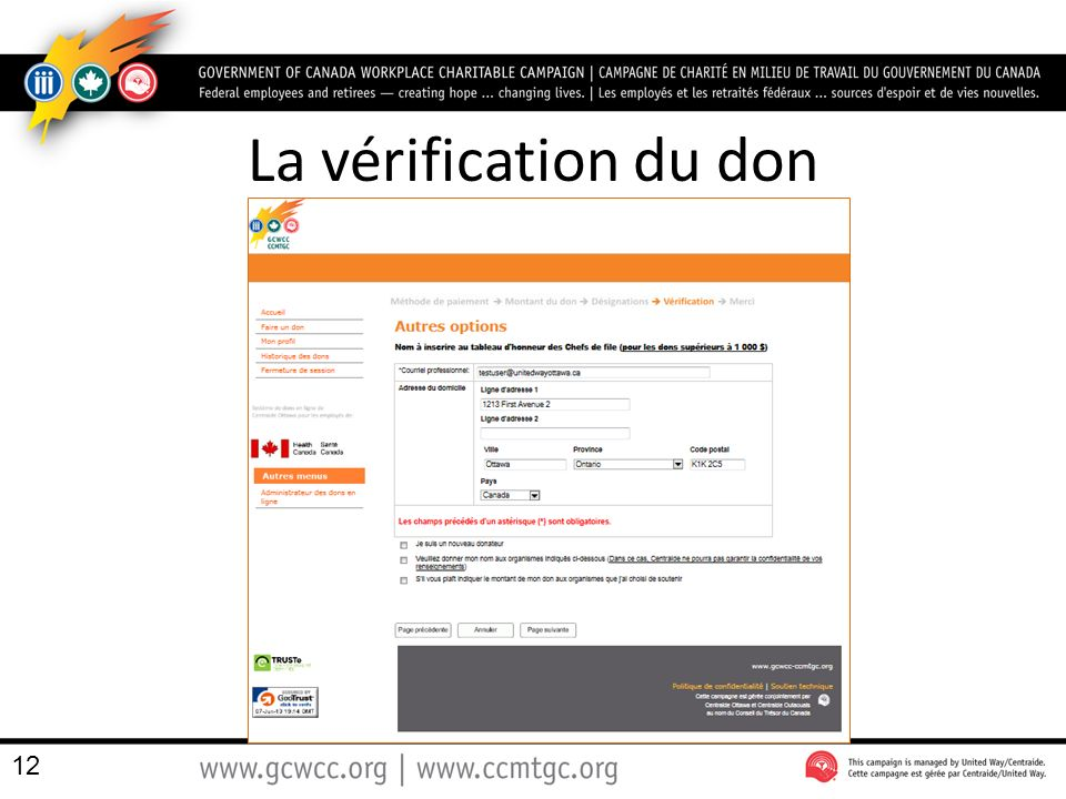 La vérification du don