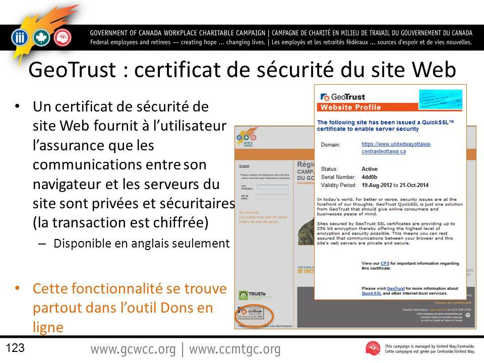 GeoTrust : certificat de sécurité du site Web