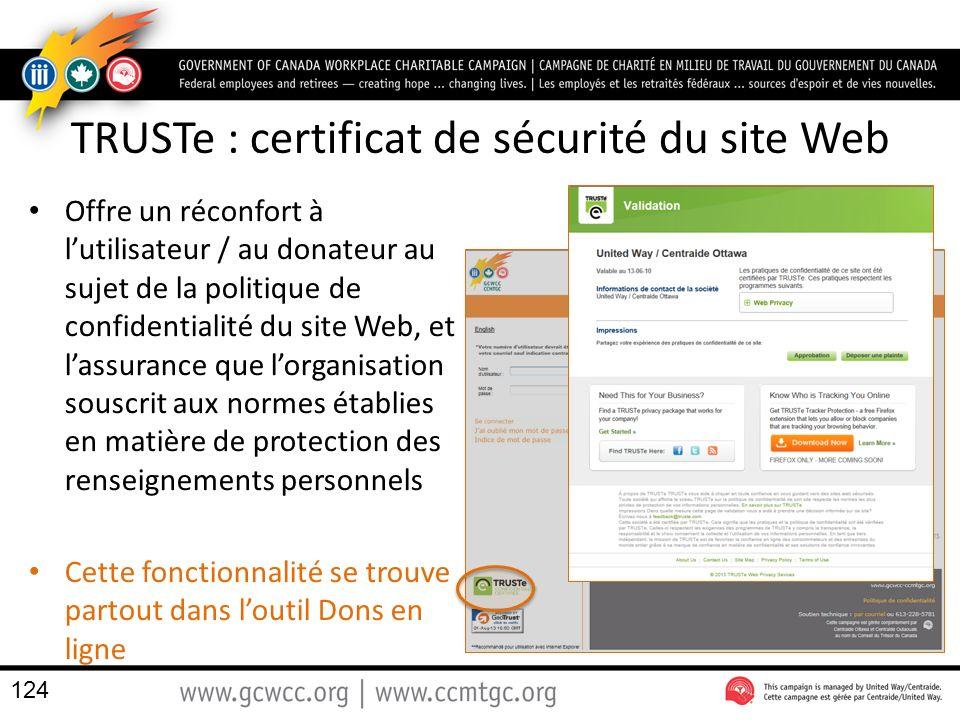 TRUSTe : certificat de sécurité du site Web
