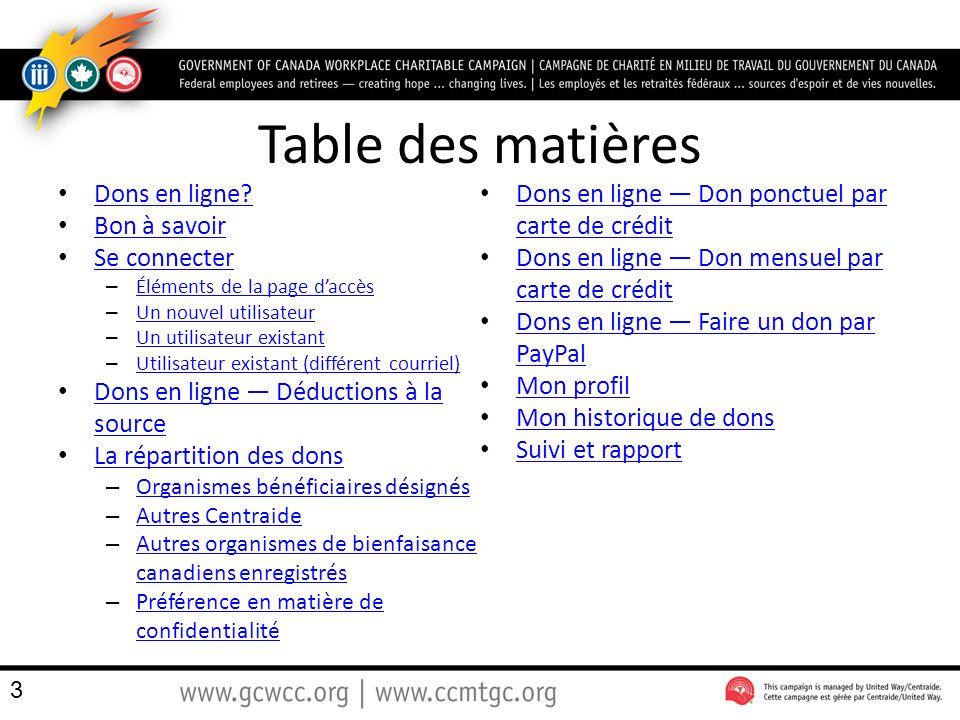 Table des matières Dons en ligne