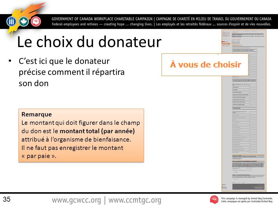Le choix du donateur C'est ici que le donateur précise comment il répartira son don. Remarque.